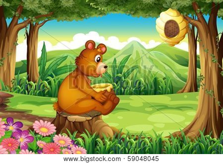 Illustration of a bear at the forest near the beehive