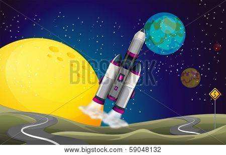 Illustration of a road in the outerspace with an aircraft