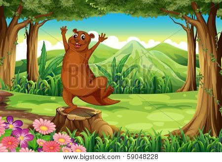 Illustration of a brown sealion at the forest standing above the stump