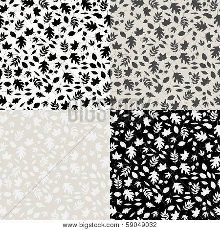 Set of vector seamless patterns with falling leaves