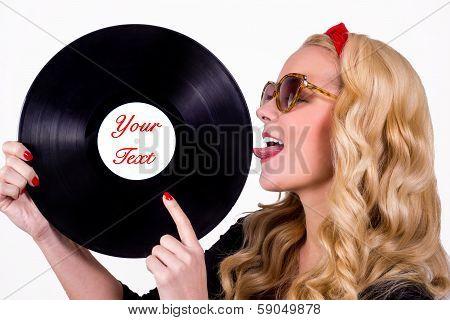 Retro girl with vinyl LP