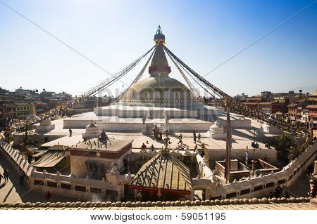 KATHMANDU, NEPAL - DEC 4: Circle Stupa Boudhanath, Dec 4, 2013 in Kathmandu, Nepal. Ancient Stupa is one of the largest in the world, of 1979 is a UNESCO World Heritage Site.