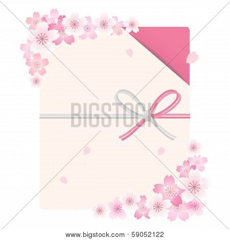 Envelope With Cherry Blossom Flowers