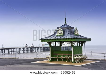 Traditional Victorian shelter on Blackpool promenade, UK.
