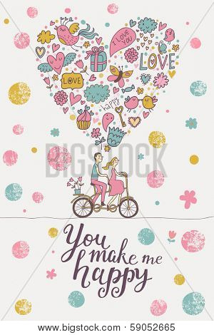 You make me happy �¢�?�? stylish romantic card in modern pastel colors. Cute couple of lovers on tandem bicycle
