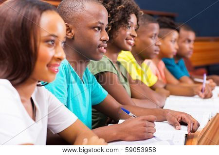 group of young african american college students in lecture room