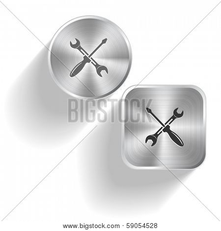 Screwdriver and spanner. Raster set steel buttons