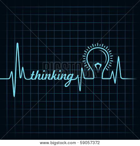 heartbeat make thinking word and light-bulb