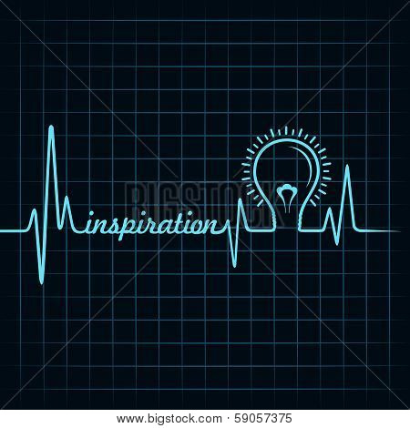 heartbeat make inspiration word and light-bulb