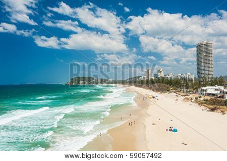 Gold Coast with a beach full of tourists seen from above. Queensland, Australia