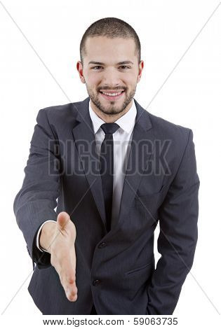 businessman in suit offering to shake the hand