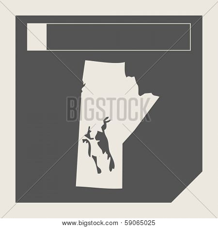 Manitoba state in Canada responsive flat web design map button isolated with clipping path.