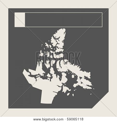 Nunavut state in Canada responsive flat web design map button isolated with clipping path.