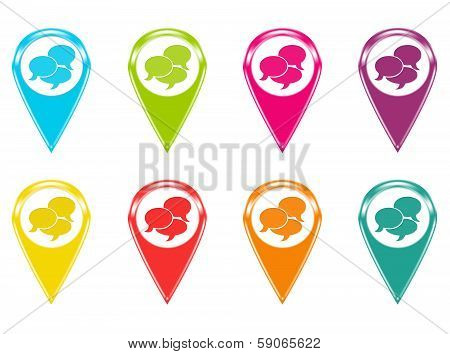 Set of icons or colored markers on maps with conversation symbol