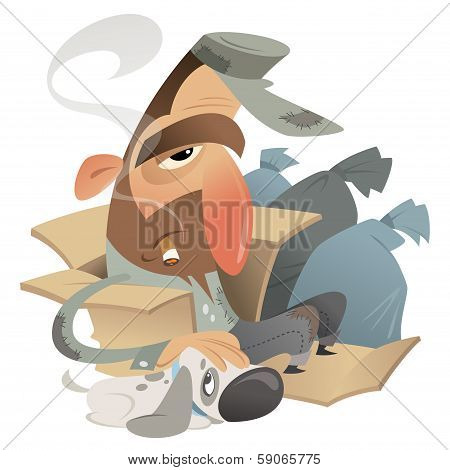 Homeless Man With Dog In A Carton Near Garbage Bags