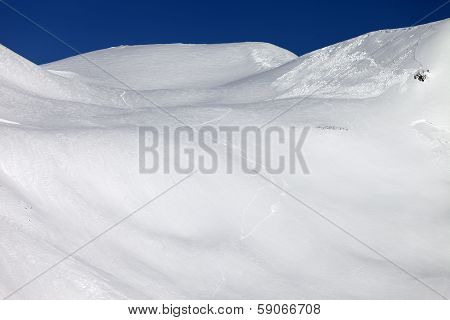 Trace Of Avalanche On Off-piste Slope