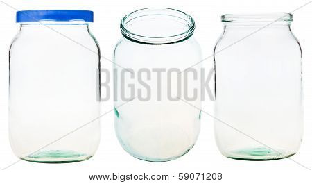 Set Of Gallon Glass Jar Isolated On White