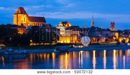 Old town of Torun at night, Kuyavia-Pomerania, Poland