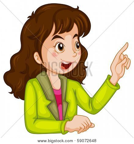 Illustration of a businesswoman talking on a white background
