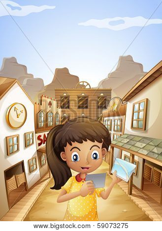 Illustration of a girl watching the pictures while standing near the saloon bars