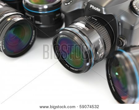 Digital slr camera with lens. Space for text.