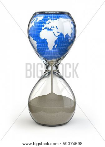 Earth in hourglass. Conceptual image destruction of the world. 3d