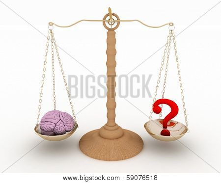 On one side of the scale the brain to another question-mark