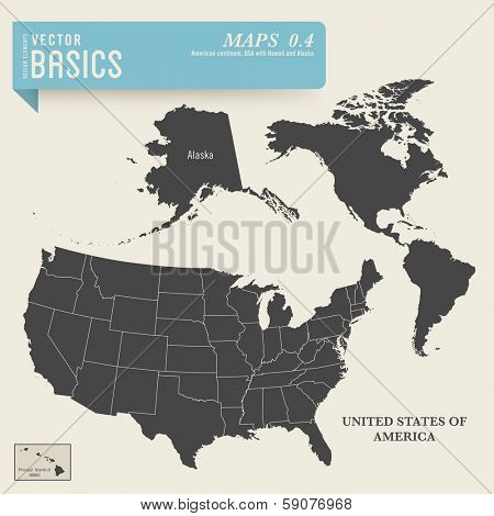 vector basics: detailed map of the American continent and the USA including Alaska and Hawaii
