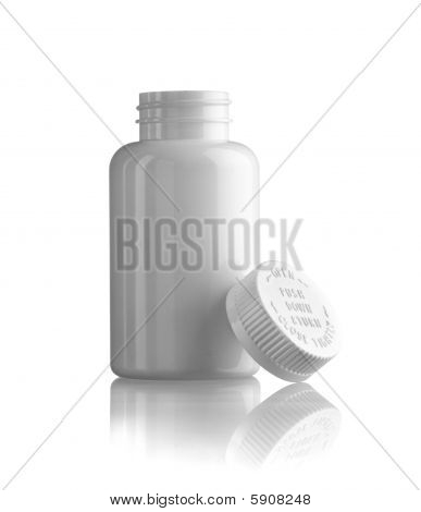 Open White Medicine Bottle