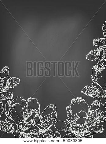 Vector illustration of flowers on chalkboard.