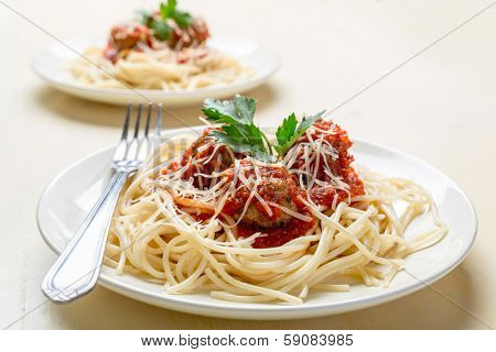 Plate of Spaghetti with Meatballs in Tomato Marinara Sauce