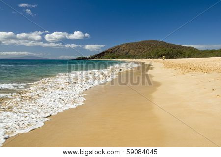"Makena Beach, also known as ""Big Beach,"" is one of the largest beaches in Maui , Hawaii"