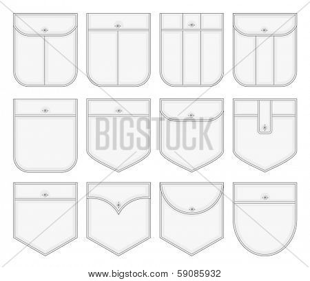 Vector collection of shirt pockets. No mesh.