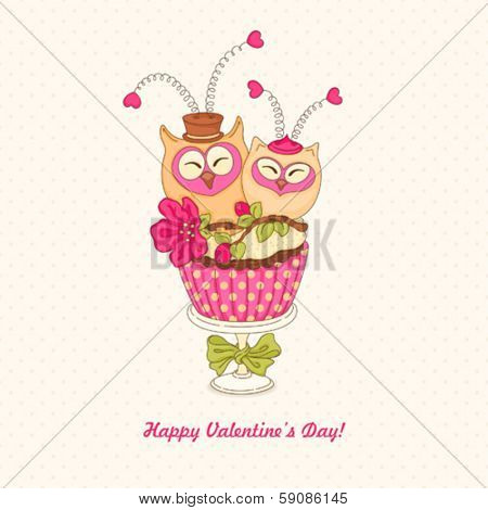 Greeting card with cupcake owls Valentine's Day.