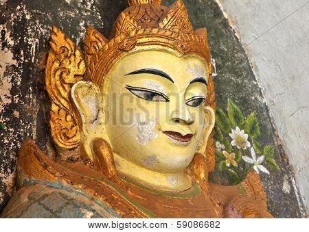 Buddha statue at a ancient temple at Bagan, Myanmar