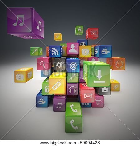 3d image of abstract cubes and icon set