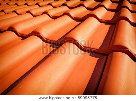 Roof tiles closeup