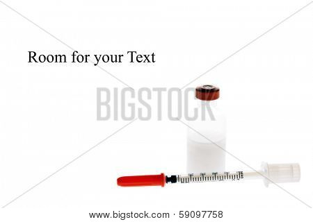 insulin and insulin needle  isolated on white.   Diabetes affects 25.8 million people of all ages.   8.3 percent of the U.S. population.