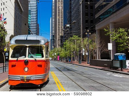 San Francisco Market Street F Market & Wharves F line is a vintage heritage streetcar cable car of California USA