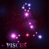 image of pisces  - Pisces zodiac sign of the beautiful bright stars on the background of cosmic sky - JPG