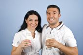 Happy Couple Healthy With Milk Glasses