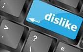 foto of dislike  - dislike key on keyboard for anti social media concepts - JPG