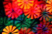 stock photo of psychedelic  - Colorful light rays abstract blurry circles psychedelic background - JPG