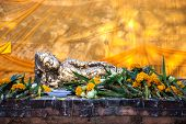 stock photo of recliner  - Reclining Buddha at Wat Lokayasutharam Ayutthaya Thailand - JPG