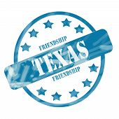 picture of texas star  - A blue ink weathered roughed up circle and stars stamp design with the word TEXAS with the state motto of FRIENDSHIP on it making a great concept - JPG