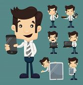 stock photo of caricatures  - Set of businessman show tablet and smart phone characters poses eps10 vector format - JPG