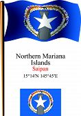 Northern Mariana Islands Wavy Flag And Coordinates