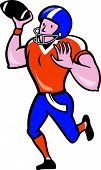 American Football Quarterback Throw Ball Isolated Cartoon