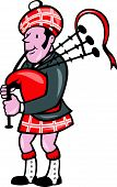 image of bagpiper  - Illustration of a scotsman bagpiper playing bagpipes viewed from side set on isolated background done in cartoon style - JPG