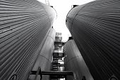 picture of silo  - a brewery silos bottom view black and white - JPG